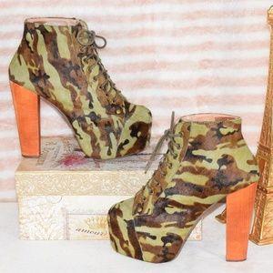 JEFFREY CAMPBELL LITA FUR Camo Platform Heel Boot